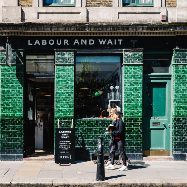 """Vintage storefront in Brick Lane area in London"" stock image"