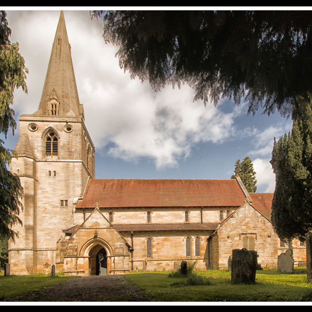 """St Mary Magdalene church, Mitford"" stock image"