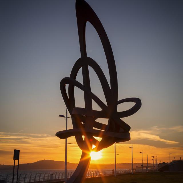 """The Kitetail sculpture at Aberavon seafront"" stock image"