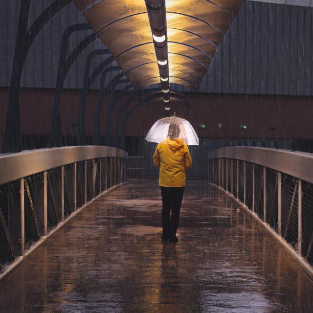 """""""Pedestrian Overpass, Manchester"""" stock image"""