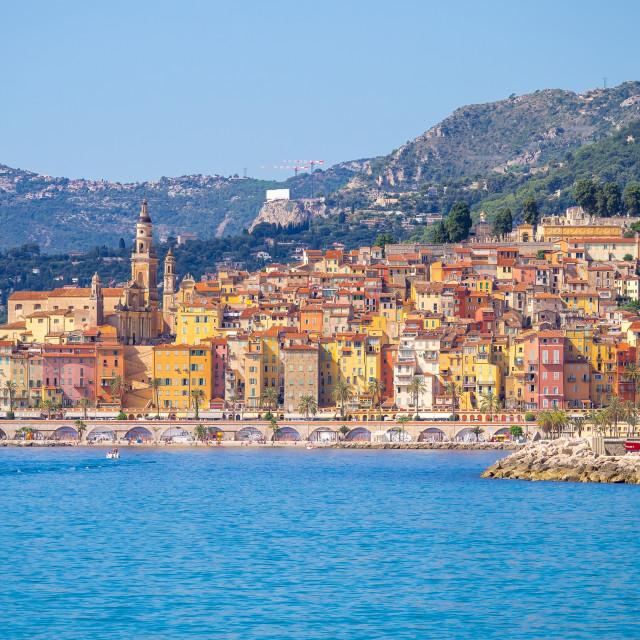 """""""Landscape of Menton, Cote d'Azur, France"""" stock image"""