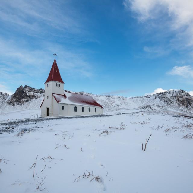 """""""Vik i Myrdal Church in Winter"""" stock image"""