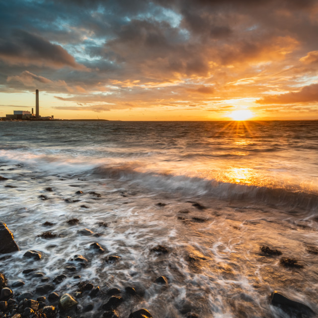 """""""Dawn on Downshire Beach"""" stock image"""