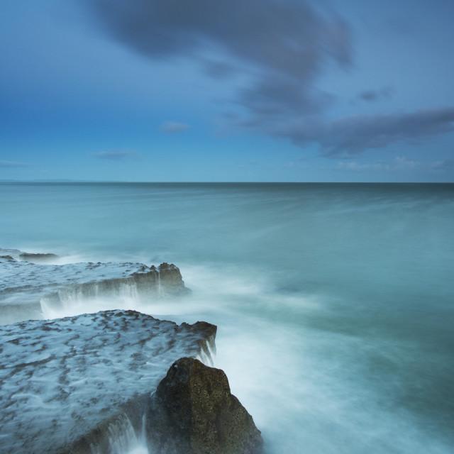 """Blue hour, Portland Bill, Dorset"" stock image"