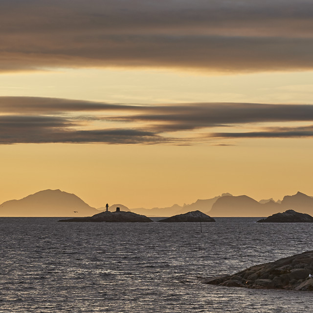 """Sunrise at Henningsvær"" stock image"