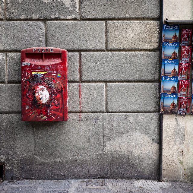 """Urban Street Art, Florence, Piazza Santo Spirito"" stock image"