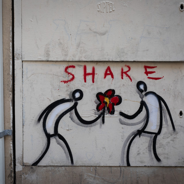 """""""Share - street art Florence, Italy"""" stock image"""