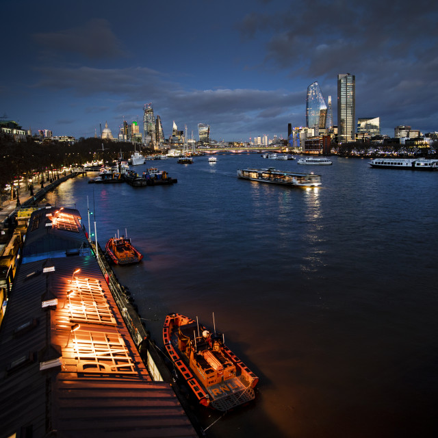 """River Thames and London skyline by night"" stock image"