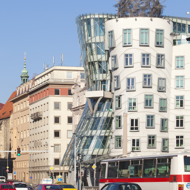 """Czech Republic, Prague - Dancing House and traffic."" stock image"