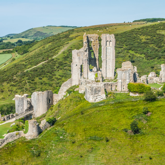 """Corfe Castle Dorset"" stock image"