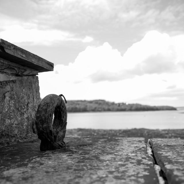 """Quay wall Lawrenny"" stock image"