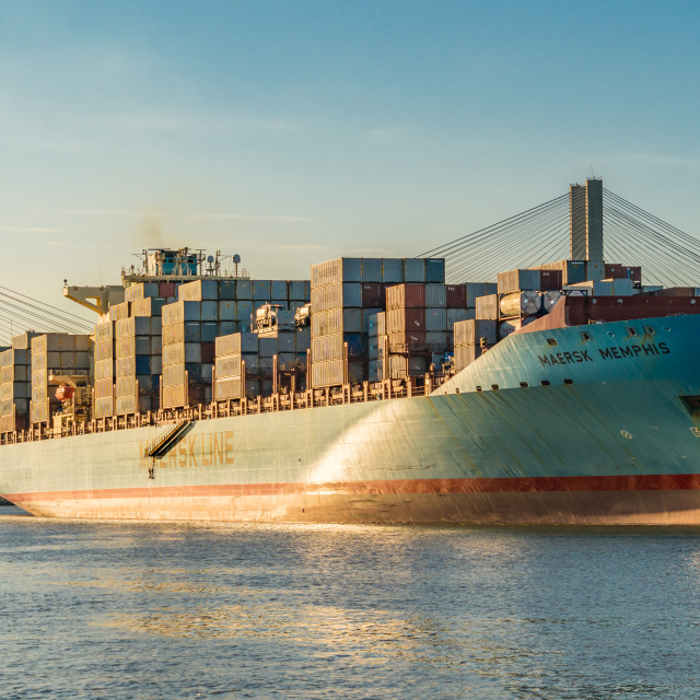 """""""The Maersk Memphis container ship"""" stock image"""