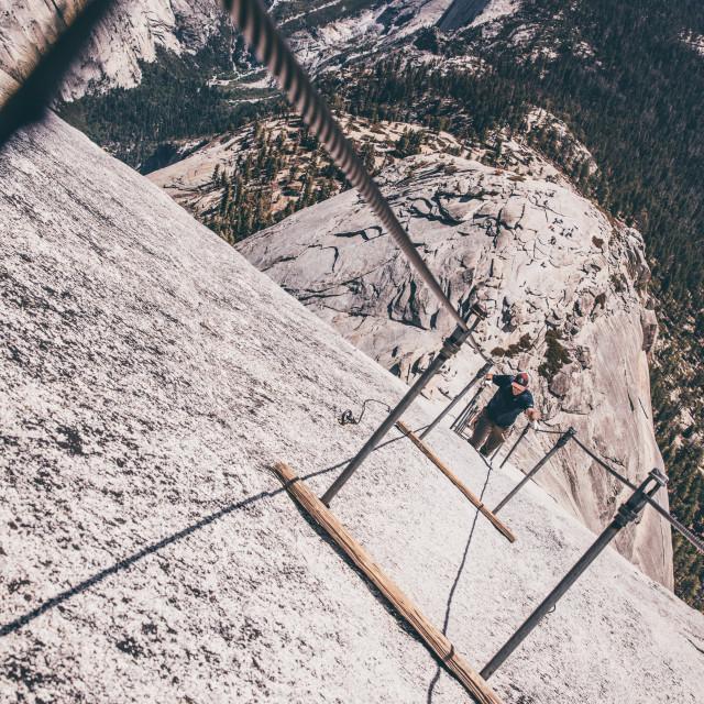 """Half Dome Climb"" stock image"