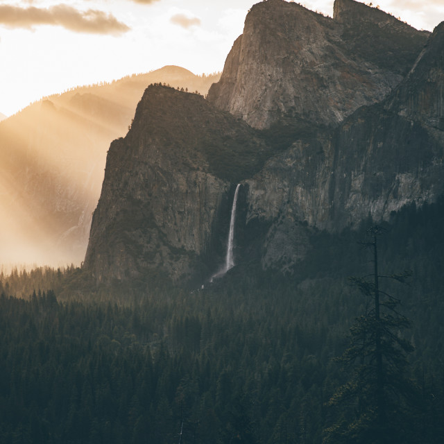 """Sunrise Tunnel View Waterfall"" stock image"