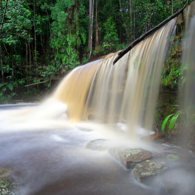 """""""Long exposure of Giluk waterfall in Maliau Basin Sabah Borneo Malaysia"""" stock image"""