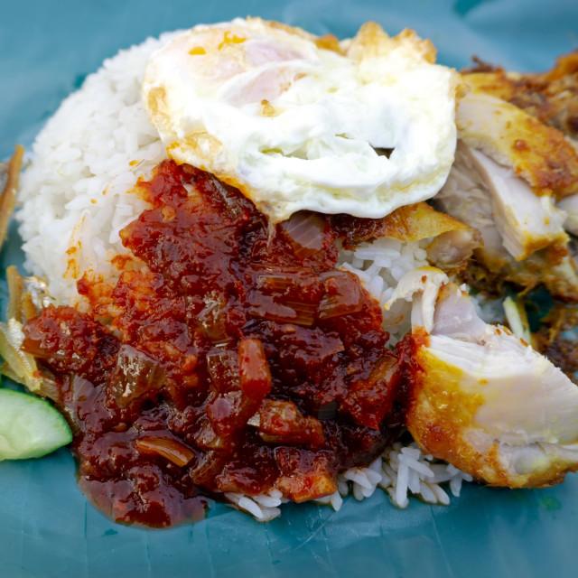"""Nasi lemak or coconut milk rice, popular dish in Malaysia."" stock image"