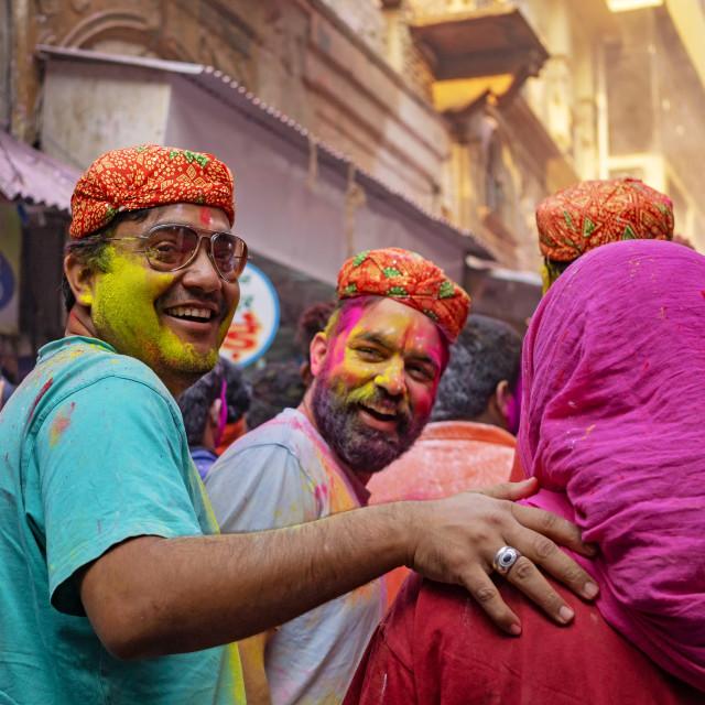 """""""People in the street celebrating Holi festival celebration in Agra."""" stock image"""