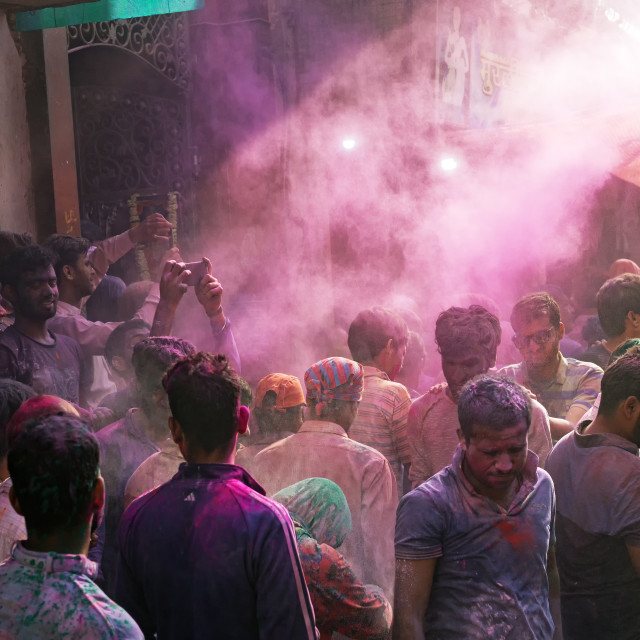 """""""Crowd of people in the street of Vridavan during Holi festival celebration in Agra."""" stock image"""