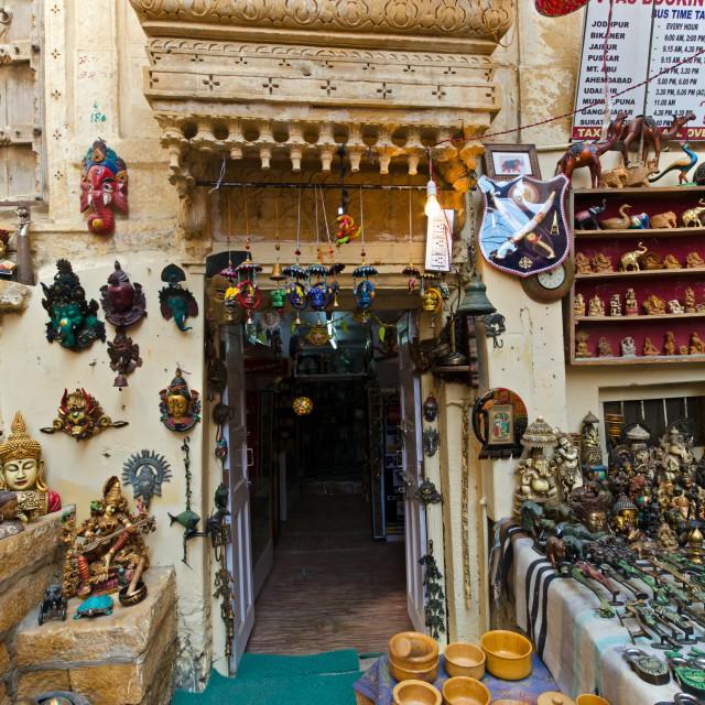 """Sourvenir shops inside the Jaisalmer fort, one of the last living fort in the world."" stock image"