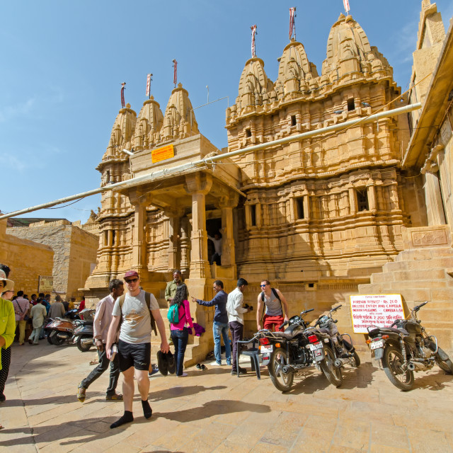 """Tourists infront of Jain Temple inside Jaisalmer Fort."" stock image"
