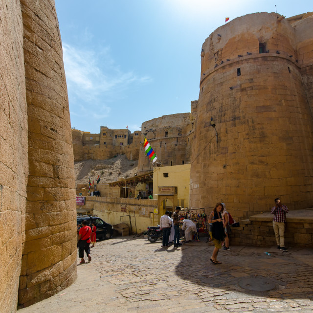"""""""People inside the Jaisalmer fort, one of the last living fort in the world."""" stock image"""