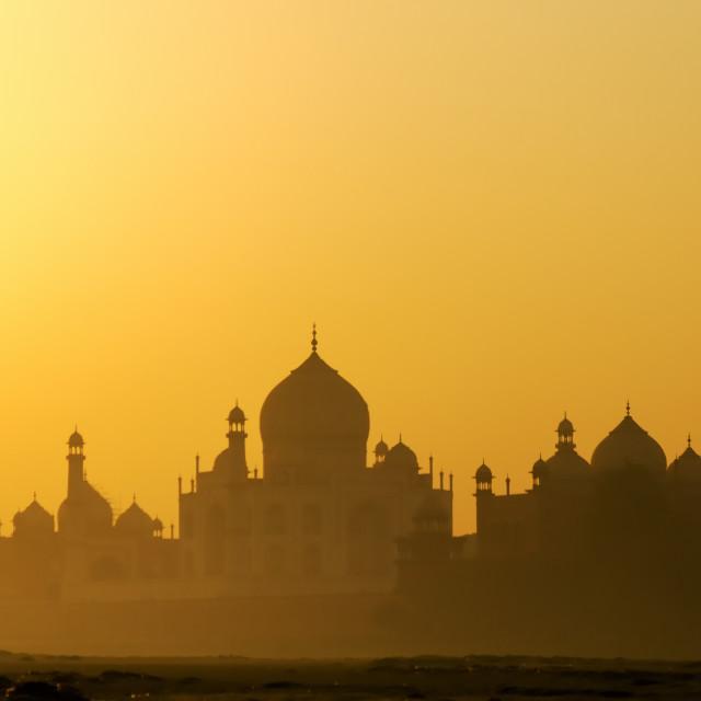 """Sunrise view of Taj mahal in Agra, Uttar Pradesh, India."" stock image"