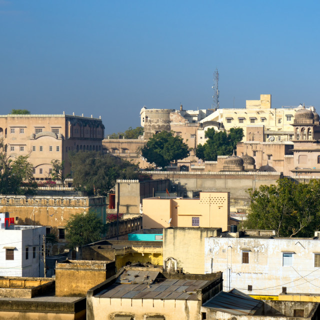 """""""View of Mandawa town skyline, small town in Rajasthan state of India"""" stock image"""