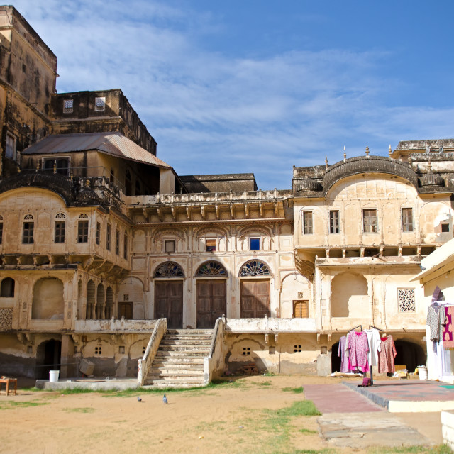 """""""Old building of historical palace in Mandawa, Rajasthan, India."""" stock image"""
