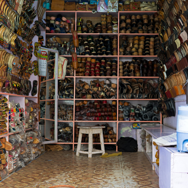 """""""Shoe's shop with colorful shoes display in Mandawa town, Rajasthan."""" stock image"""