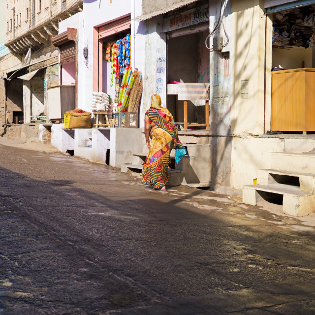 """""""Indian lady at the street of Mandawa town in Rajasthan"""" stock image"""