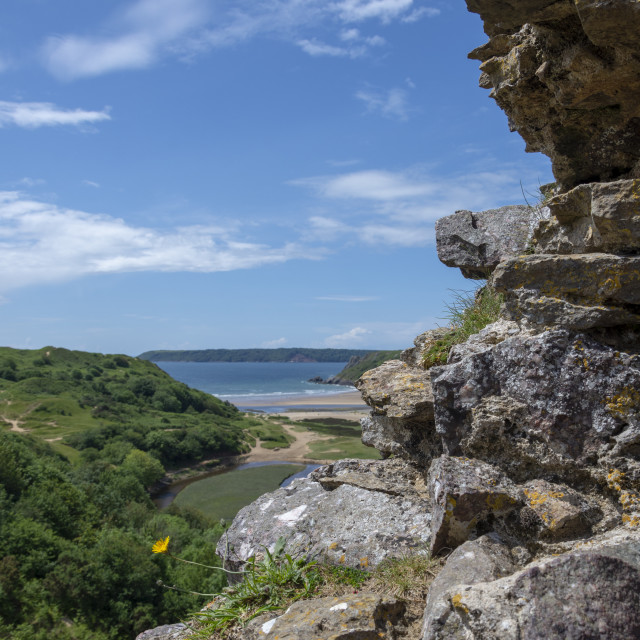 """""""View from Pennard Castle square"""" stock image"""
