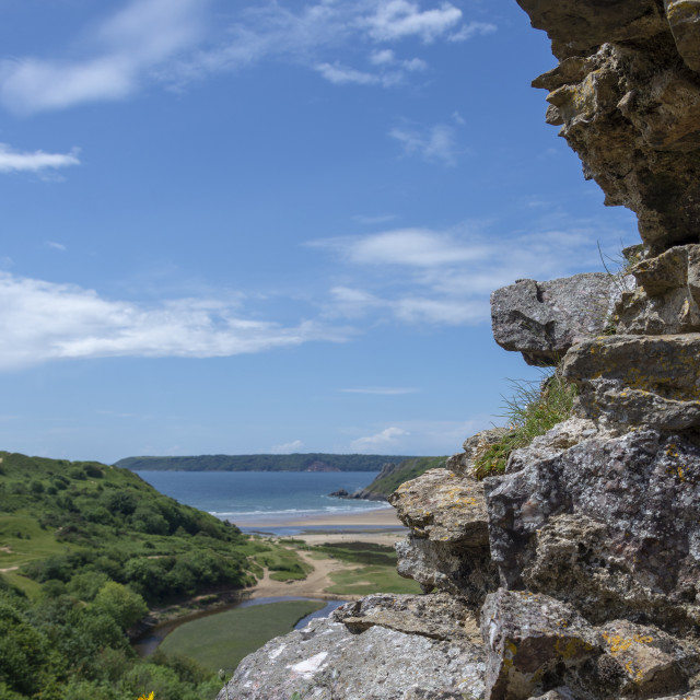 """""""View from Pennard Castle portrait"""" stock image"""