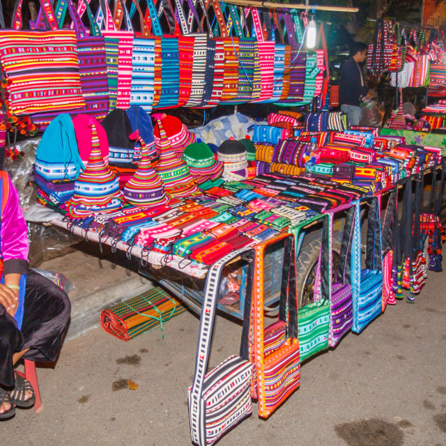 """""""Woman selling hilltribe products,"""" stock image"""