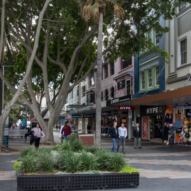 """""""Shops on the Corso, Manly"""" stock image"""