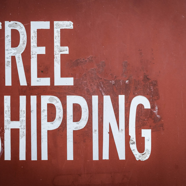 """Grungy Free Shipping Sign"" stock image"