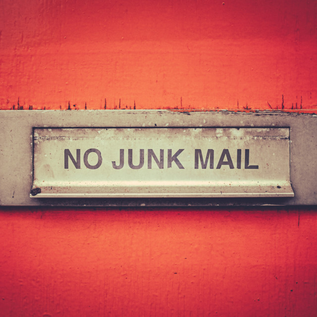 """No Junk Mail Letterbox"" stock image"