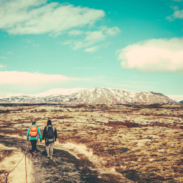 """Two Women Hiking In Iceland"" stock image"