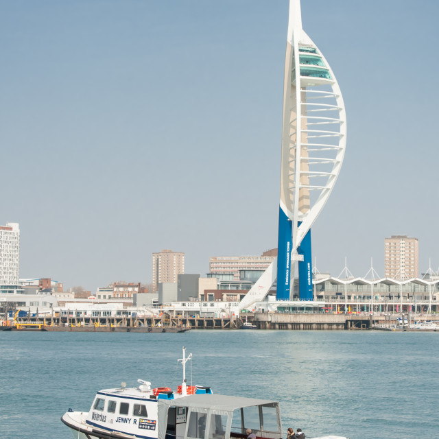 """""""Spinnaker Tower and waterbus"""" stock image"""
