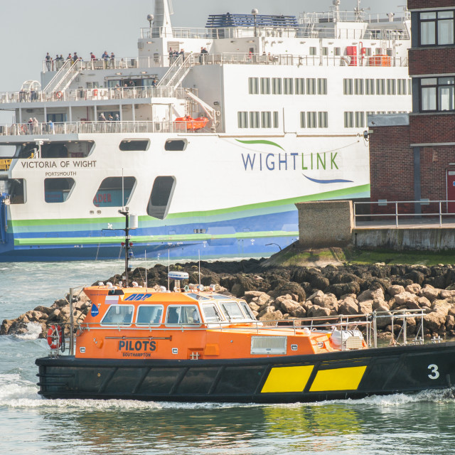 """""""Wightlink ferry and pilot tug"""" stock image"""