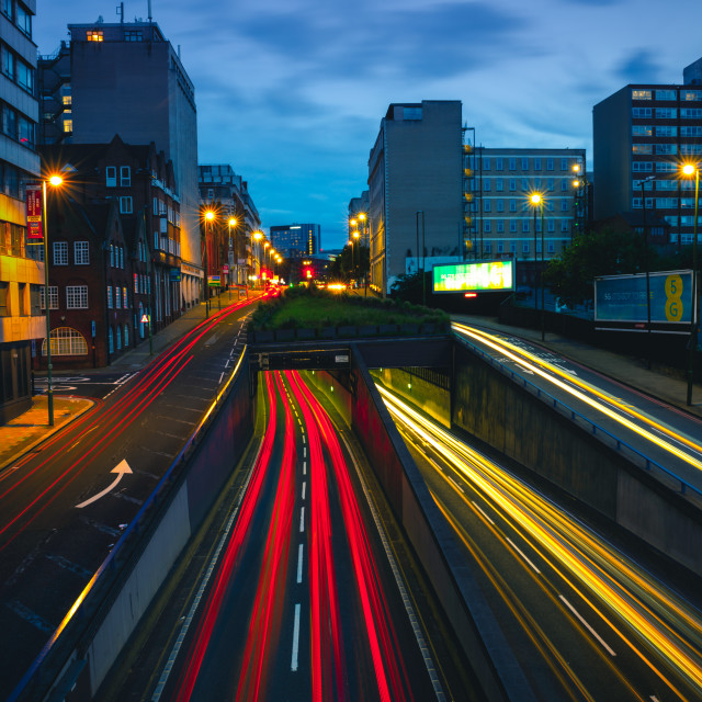 """Light trails in Birmingham City"" stock image"