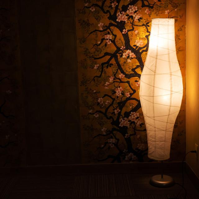 """lamp near cherry blossom painting wall"" stock image"