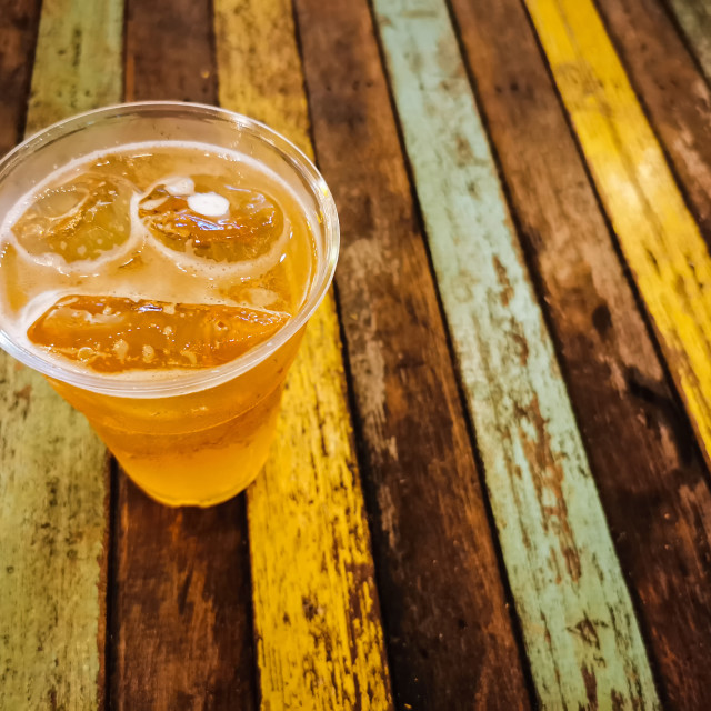 """""""Beer with ice on wooden table"""" stock image"""
