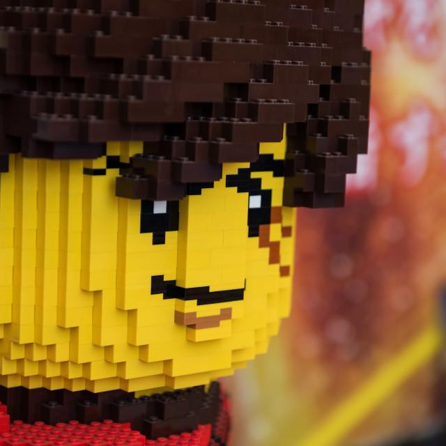 """""""lego man face at Japan Legoland"""" stock image"""