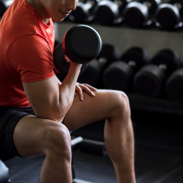 """""""bodybuilder exercise with dumbbell in gym"""" stock image"""