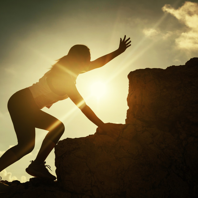 """""""Hiking athlete woman ask for help at summit"""" stock image"""