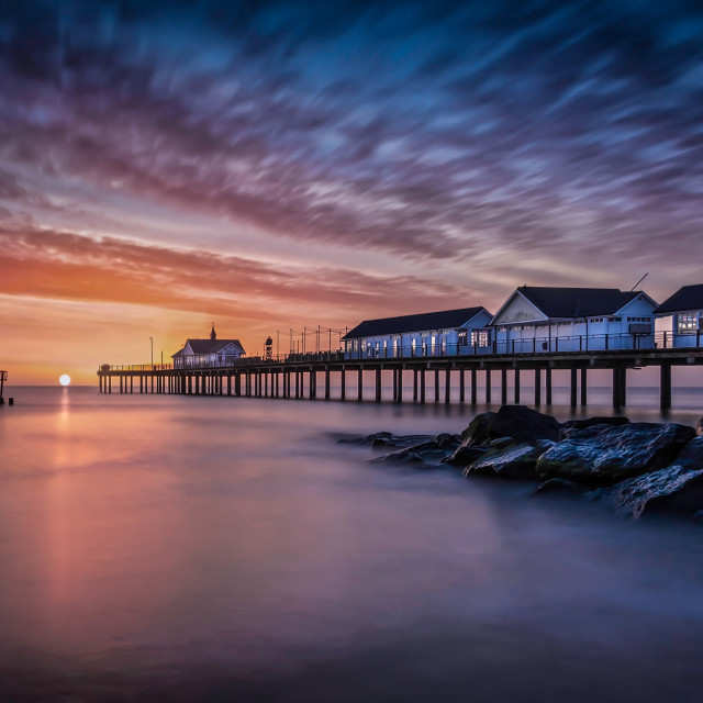 """Sunrise at Southwold"" stock image"