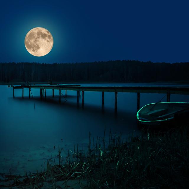 """Moonlight under lake"" stock image"