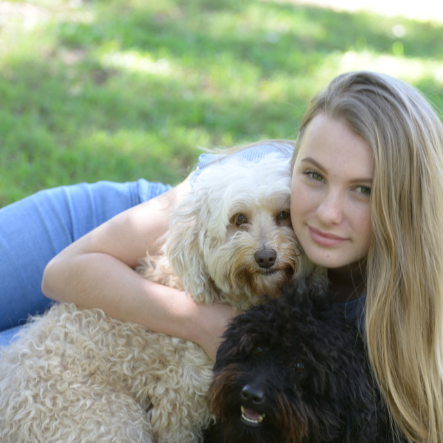 """""""Blond teen and pups posing for the camera."""" stock image"""