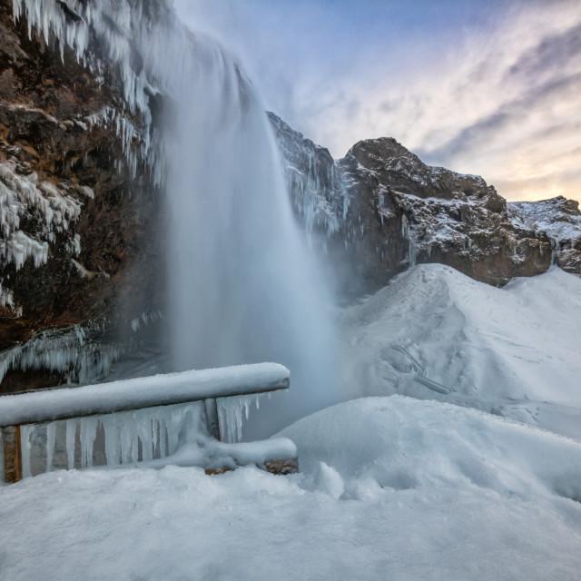 """Seljalandsfoss Winter Sunset"" stock image"