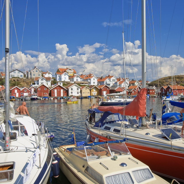 """Sweden West Coast Bohuslän - Grundsund Fishing Village."" stock image"
